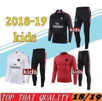 Wholesale black children tracksuits resale online - New kids psg tracksuit PARIS soccer jogging jacket MBAPPE POGBA jersey psg child Football Training suit Football Chándal