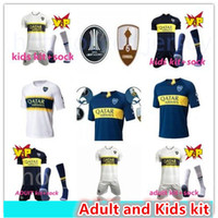 Wholesale 17 Boca Juniors Adult and kids Soccer Uniforms Short Sleeve Boca Juniors Soccer Jersey Shorts Socks Boc Football RD Soccer kits