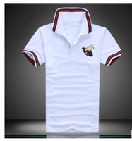 Wholesale High Trade - Foreign trade summer new lapel short-sleeved men's beads cotton bee printing T-shirt high-end leisure