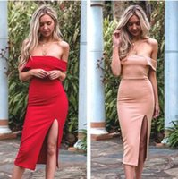 Wholesale casual off one shoulder dresses - 2 Colors Sexy Elegant Womens' V Neck Casual Dress Ladies Sleeveless Dress Slim Split Mid-calf One Piece Party Dress CCA9141 10pcs