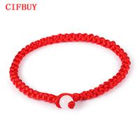 chinesisches rotes seilarmband großhandel-CIFBUY Einfachen Stil Klassische Lucky Chinese Geflochtene Rote Schnur Seil Schnur Armband Geschenk Günstigen Preis Schmuck HS001