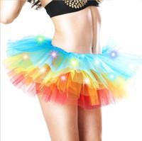 vestido de fantasia levou fantasia venda por atacado-Mulheres adultas LED Light Up Neon Rainbow Tutu Saia Traje Do Partido Do Vestido Extravagante