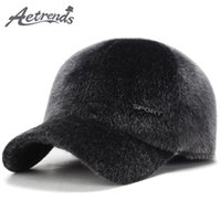 Wholesale fur ear flap hats - [AETRENDS] 2017 Winter Fur Flat Hats with Ear Flaps Russian Warm Fur Baseball Cap Men Z-6140