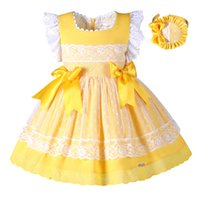 ingrosso i bambini gialli si inchinano-Pettigirl Easter Girl Dress Giallo Pizzo Princess Dress For Girls con Headwear e Bow Boutique Kids Designer Abiti da ragazza G-DMGD101-B171