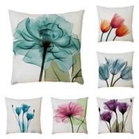 pinturas de tulipán al por mayor-Retro pintura al óleo flor funda de almohada lino color caramelo acuarela Floral tulipán cubierta del amortiguador dormitorio sofá decoración del hogar Pillowslip 5 2bz jj