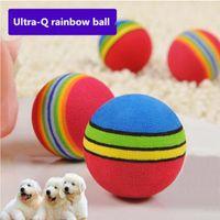 kedi gökkuşağı topları toptan satış-CW026 Gökkuşağı Renkli Topu Hayvan Köpek Kedi Köpek Oyuncakları Komik Dayanıklı Bite Toplar Molar Aracı Etkileşimli Eğitim Chew