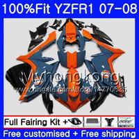 carenagem r1 laranja venda por atacado-Corpo de injeção para YAMA YZF R YZF-1000 YZF-R1 07 08 227HM.32 YZF 1000 YZFR1 07 YZF1000 YZF R1 2007 2008 Carenagem Orange blue Kit quente