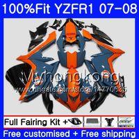 orange blau yamaha großhandel-Injektionskörper für YAMAHA YZF R 1 YZF-1000 YZF-R1 07 08 227HM.32 YZF 1000 YZFR1 07 08 YZF1000 YZF R1 2007 2008 Verkleidung Orange blue hot kit