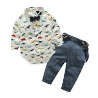 ingrosso indumenti da signore-2018 Primavera neonato Vestiti Gentleman Baby Boy Dinosaur Indumento + tuta Moda Baby Boy vestiti