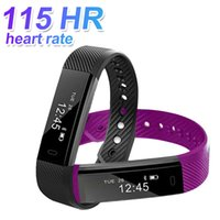Wholesale cellphone kid for sale - 115 HR Smart Bracelet with Heart Rate Fitness Tracker Smart Wristbands IPX7 Waterproof Watches Step Counter For IOS and Android Cellphones