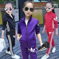ingrosso giacca coreana del capretto ragazza-Abbigliamento per bambini Ragazze Sets 2016 Neonate Autunno Cappotti e giacche Pantaloni Set Coreano Moda Abbigliamento per bambini Abbigliamento sportivo Per ragazza Sportswear