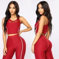 Wholesale cut piece clothes online - 2 piece set women crop top and leggings suit hollow out cut out tank top fitness clothing workout outfit hip trackpants YA7893