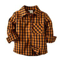 portakal boys gömlek toptan satış-Bahar 2018 Moda Bluz Uzun Kollu Ekose + Ilmek 2-7 Yaşında Erkek Gömlek Çocuk Giyim Turuncu Hırka Camisa Menino