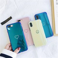 Wholesale housing for iphone green - Fashion LOVE Heart Housing Laser Case Luxury Blue Ray Soft TPU Cute Phone Shell Cover For iPhone X 8 7 6 6S Plus
