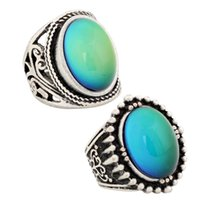 Wholesale best rungs for men resale online - 2 Beautiful Mood Ring Jewelry Set for Gift Men Womens Best Color Change Antique Plated Ring RS019