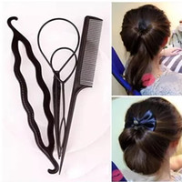 оплетка конский хвостик оптовых-Fashion 4pcs Ponytail Creator Plastic Loop Styling Tools Pony Tail Clip Hair Braid Maker Styling Tool Salon Magic Hair