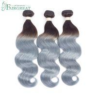 Wholesale human hair extensions gray online - Gray brazilian body wave ombre silver grey hair weave bundles b grey two tone Brazillian Virginn human hair extensions