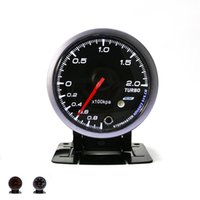 Wholesale free style meter - Wholesale-Free Shipping Universal Black Shell 60mm Turbo Boost Gauges 0~200 KPA Boost Sensor Car Clock Car Styling Auto Gauge Meter