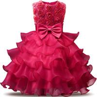 rote kleid spitze puff ärmel großhandel-Blumenmädchen Kleid für Hochzeit Baby Mädchen 0-12 Jahre Geburtstag Outfits Kinder Mädchen Kleider Mädchen Kinder Party Prom Ballkleid
