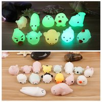 Wholesale toy animal night light - Squishy Mochi Night Light Jumbo Cat Toys Noctilucent Seals Animals Stress Relief Slowing Rising Cartoon Squeeze Toy Cream Scented AAA137