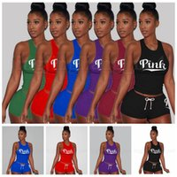 Wholesale crop tops women - Pink Tracksuit LOVE PINK Letter Printed Sleeveless Tank Crop Top Shorts Set Sportswear Jogger Suit OOA5113