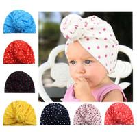 hint tarzı şapkalar toptan satış-8 Renkler Nokta Baskı Çocuk Kulaklar Kapak Şapkalar Avrupa Tarzı Bebek moda Şapka Bebek Hint Şapka Çocuk Türban Düğüm Baş Sarar Caps