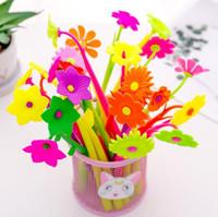 Wholesale kids korean pens for sale - Group buy kawaii korean stationery lovely flower shape gel ink pen flowers and plants pens DIY school office supplies mm kids gift