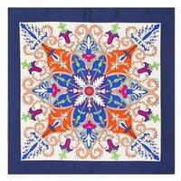 blauer paisley schal großhandel-Frauen-quadratischer Blumendruck-Schal-Luxuxentwurfs-blaues Bandana-Foulard Femme kleine Damen-Silk Schals 60 * 60CM Großhandel