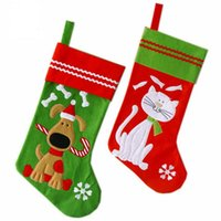 Wholesale cat stocking shipping for sale - Group buy Christmas Pet Stocking with Lovely Dog and Cat Embroidery cm Felt Material