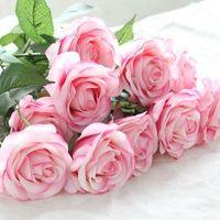 bouquets de rosa de latex de toque real venda por atacado-Decoração rosa flores artificiais flores de seda floral látex real toque subiu buquê de casamento flores de festa em casa