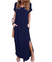 uzun v yaka siyah mini elbise toptan satış-2018 Yeni Yaz Kadın Kısa Kollu V Boyun Rahat Yarık Hem Katı Parti Plaj Maxi Uzun Elbise Kısa Siyah Vestido Artı Boyutu