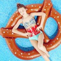 aufblasbare strandpolster großhandel-140 cm PVC Brot Aufblasbare Pool Schwimmt Für Sommer Strand Schwimmen Ring Braun Erwachsene Tragbare Lila Schwimm Pad 18xr X