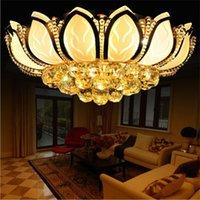 lâmpada de lótus venda por atacado-Flor de lótus moderna luz de teto de ouro E14 pingente de cristal lâmpada LED lustre para sala de estar quarto lâmpada do teto iluminação dispositivo elétrico