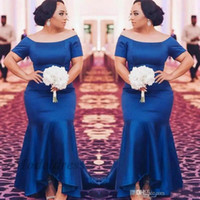 vestido drapeado corto azul real al por mayor-Vestidos de noche azul real con mangas cortas capucha Vestidos de noche drapeada sirena satinada para noche especial Vestido de alfombra roja de celebridad