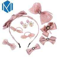 Wholesale red band clips - MISM 10Pcs Set Princess Girls Kid Hair Accessories Cute Child Bow Hairpins Hair Clips Lolita Pearl Flower Elastic Band Headdress