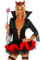 сексуальный рог оптовых-Бесплатная доставка дамы хэллоуин дьявол маскарадный костюм рога женщина сексуальный дьявол костюм наряд