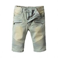 Wholesale Modern Men Shorts - 2018 new style famous novelty design Personality zipper denim shorts men shorts stylish biker jeans rock style patchwork men's jeans
