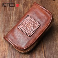 araba anahtarları için deri çantalar toptan satış-AETOO El Yapımı deri anahtarlık Özgün tasarım çok fonksiyonlu üst katman deri araba anahtarı çantası Büyük kapasiteli değişim fermuarlı çanta