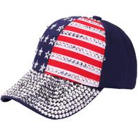 gorras americanas para mujeres al por mayor-USA Bling Gorra de béisbol Sparkle Rhinestone Sombrero de la bandera americana Mujeres Hombres Nueva moda Gorra de béisbol Bling Rhinestone Snapback