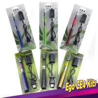 Wholesale Plastic Capacity - Ego Ce4 Blister Kits CE4 EgoT Starter Kits Ce4 Clearomizer EgoT Full Capacity Battery 650mah 900mah 1100mah Ego Vape Pen E Cigarette Kits
