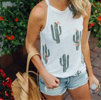 Wholesale relaxed t shirt - Sleeveless T-shirt Cactus Printed Vest Sexy And Relaxed T-shirt Women Summer Casual Tops Crew Neck Tanks