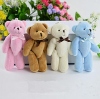 Wholesale Teddy Bouquet Wholesale - For Christmas Gift Candy Bow Bear Plush Toys Satin Cartoon bouquet plush bear doll wedding children toy phone key pendant
