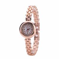 relógio de pulso de casamento venda por atacado-Luxo Rhinestone Pulseira Relógio de Rosa de Ouro da Cor Das Senhoras Moda Wedding Quartz Relógios De Pulso Das Mulheres Se Vestem Relógios Relogio