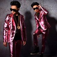 ingrosso ragazzi che indossano abiti rosa-pantaloni giacca rosa ragazzo cantante maschio abiti costume costume ballerino cantante spettacolo spettacolo discoteca abbigliamento Blazer Slim usura