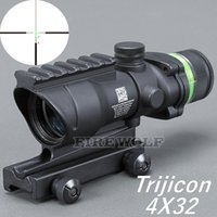 Wholesale acog scope fiber - Trijicon ACOG BLACK Color Tactical style 4x32 rifle scope red dot Green Optical fiber 20mm Rail