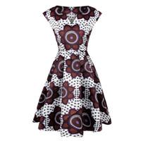 patrones de batik africano al por mayor-Vestido estampado africano 2018 mujer nuevo patrón telas batik bazin riche femme ropa sin mangas hasta la rodilla de alta calidad