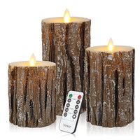 Wholesale mouse sets - Flameless Candles Flickering Flameless Candles Set Decorative Flameless Candles Classic Real Wax Pillar With Moving LED Flame With Remote