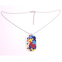 Wholesale Patterns Puzzles - Autism Awareness Identification Military Dog Tag Style Puzzle Piece Pattern With Hand Applied Enamel Colors Popcorn Chain Necklace