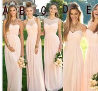 45bea6e22d8 Wholesale plus size long flowing summer dresses online - 2018 Pink Navy Cheap  Long Bridesmaid Dresses