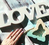 ehe requisiten großhandel-Party Weiß Liebesbriefe Holz Romantische Vintage Freistehende Hochzeit Hause Tischdekoration Ehe Liebe Hochzeit Zeichen Foto Requisiten